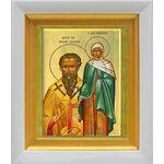Василий Великий и Емилия Кесарийская, икона в белом киоте 14*16 см - Иконы