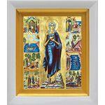 Преподобная Мария Египетская с житием, икона в белом киоте 14*16 см - Иконы