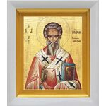 Святитель Мирон Критский, икона в белом киоте 14*16 см - Иконы