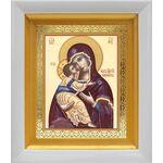 Владимирская икона Божией Матери, белый киот 14*16 см - Иконы