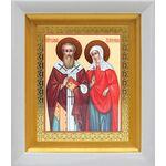 Священномученик Киприан и мученица Иустина, белый киот 14*16 см - Иконы