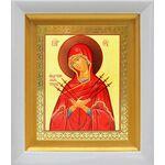 """Икона Божией Матери """"Умягчение злых сердец"""", белый киот 14*16 см - Иконы"""