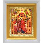 Зачатие Пресвятой Богородицы, икона в белом киоте 14*16 см - Иконы