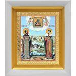 Петр и Феврония с Муромской иконой Божией Матери, белый киот 14*16 см - Иконы
