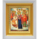 """Икона Богородицы """"Целительница"""" и святые врачеватели, белый киот 14*16 - Иконы"""