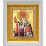 Святитель Спиридон Тримифунтский, белый киот 14*16 см - Иконы