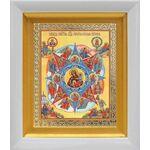 """Икона Божией Матери """"Неопалимая Купина"""", в белом киоте 14*16 см - Иконы"""