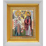 Священномученик Киприан и мученица Иустина, в белом киоте 14*16 см - Иконы