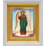 Ангел Хранитель на голубом фоне, белый киот 14*16 см - Иконы