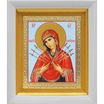 """Икона Божией Матери """"Семистрельная"""", в белом киоте 14*16 см - Иконы"""