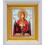 """Икона Божией Матери """"Неупиваемая Чаша"""", в белом киоте 14*16 см - Иконы"""
