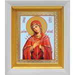 """Икона Божией Матери """"Умягчение злых сердец"""", в белом киоте 14*16 см - Иконы"""