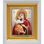 Владимирская икона Божией Матери, в белом киоте 14*16 см - Иконы