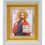 Спас Вседержитель в красном облачении, икона в белом киоте 14*16 см - Иконы