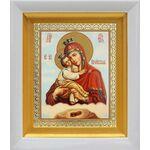 Почаевская Икона Божией Матери на облаке, белый киот 14*16 см - Иконы