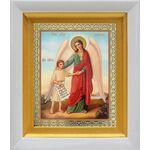 Ангел Хранитель с душой человека, икона в белом киоте 14*16 см - Иконы