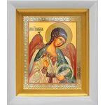 Ангел Хранитель поясной, икона в белом киоте 14*16 см - Иконы