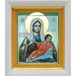 Незнановская икона Божией Матери, белый киот 14*16 см - Иконы