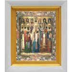 Собор Ростовских святых, икона в белом киоте 14*16 см - Иконы