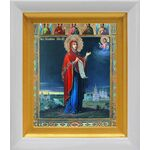 Боголюбская икона Божией Матери, в белом киоте 14*16 см - Иконы