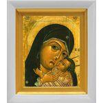 Корсунская икона Божией Матери, белый киот 14*16 см - Иконы