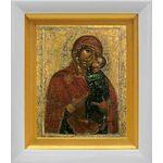 Толгская икона Божией Матери, Ярославль, 1314 г, белый киот 14*16 см - Иконы
