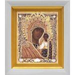 Казанская Ярославская икона Божией Матери, белый киот 14*16 см - Иконы