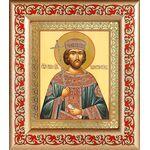 Равноапостольный Константин Великий, рамка с узором 14,5*16,5 см - Иконы