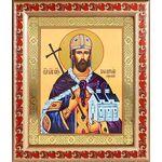 Благоверный князь Владислав Сербский, икона в рамке с узором 19*22,5см - Иконы