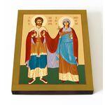 Мученики Александр воин и Антонина дева, икона на доске 13*16,5 см - Иконы