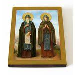 Преподобные Кирилл и Мария Радонежские, печать на доске 13*16,5 см - Иконы