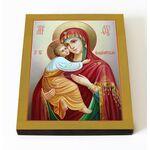 Владимирская икона Божией Матери, печать на доске 8*10 см - Иконы