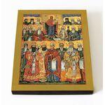 Собор Афонских преподобных святых, икона на доске 8*10 см - Иконы