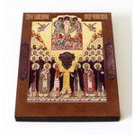 Собор Соловецких святых, икона на доске 8*10 см - Иконы