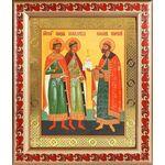Благоверные князья Борис, Глеб и Роман, рамка с узором 19*22,5 см - Иконы