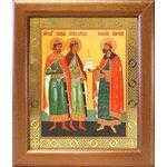Благоверные князья Борис, Глеб и Роман, в широкой рамке 19*22,5 см - Иконы