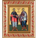 Бессребреники Косма и Дамиан Азийские, рамка с узором 14,5*16,5 см - Иконы