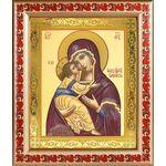 Владимирская икона Божией Матери, широкая рамка с узором 19*22,5 см - Иконы