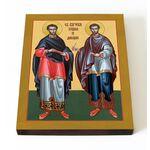 Бессребреники Косма и Дамиан Азийские, икона на доске 13*16,5 см - Иконы