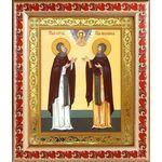 Благоверные князья Петр и Феврония Муромские, рамка с узором 19*22,5 - Иконы
