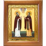 Благоверные князья Петр и Феврония Муромские, широкая рамка 19*22,5 см - Иконы