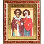 Священномученик Киприан и мученица Иустина, рамка с узором 19*22,5см - Иконы