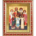 Святые царственные страстотерпцы, икона в рамке с узором 19*22,5 см - Иконы