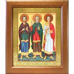 Мученики и исповедники Гурий, Самон и Авив, широкая рамка 19*22,5 см - Иконы