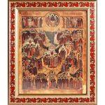 Образ всех Русских святых, икона в рамке с узором 19*22,5 см - Иконы