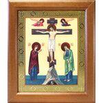 Распятие с предстоящими, икона в широкой деревянной рамке 19*22,5 см - Иконы