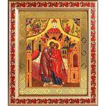 Зачатие Пресвятой Богородицы, икона в рамке с узором 19*22,5 см - Иконы