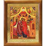 Зачатие Пресвятой Богородицы, икона в деревянной рамке 17,5*20,5 см - Иконы