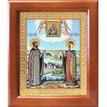 Петр и Феврония с Муромской иконой Божией Матери, рамка 12,5*14,5 см - Иконы