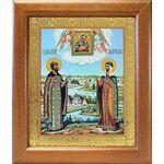 Петр и Феврония с Муромской иконой Божией Матери, рамка 19*22,5 см - Иконы